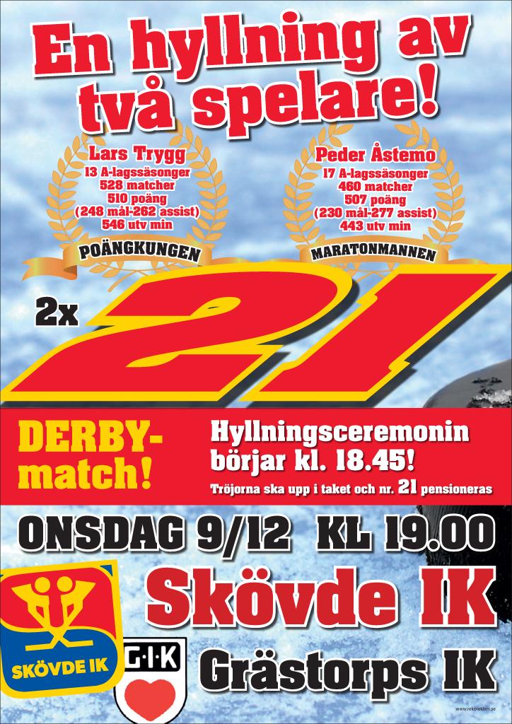 Tröja 21 pensionerades i samband med match mot Grästorps IK 9 december 2015.